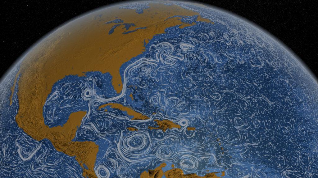 Et bilde av Golfstrømmen. Du ser den krysse like under Florida, ut i Atlanterhavet. Bilde: Flickr.com