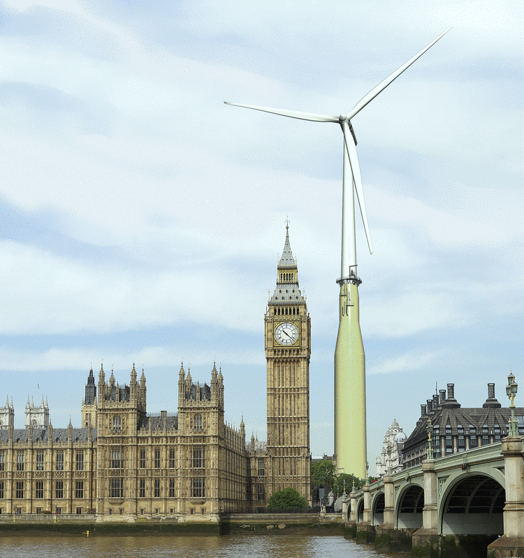 En Hywind vindmølle ved siden av Big Ben Illustrasjon: https://production.presstogo.com/mars/search_solr.searchobjects?p_com_id=34&p_ptl_id=14225&p_oty_id=110136&p_lae_id=2&p_qcl_id=1