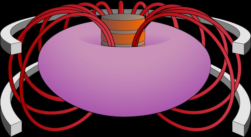 Illustrasjonen viser en forenklet tokamak. Det lilla er plasma, de andre komponentene holder plasmaet på plass og får det til å gå i ønsket retning. Illustrasjon: UngEnergi