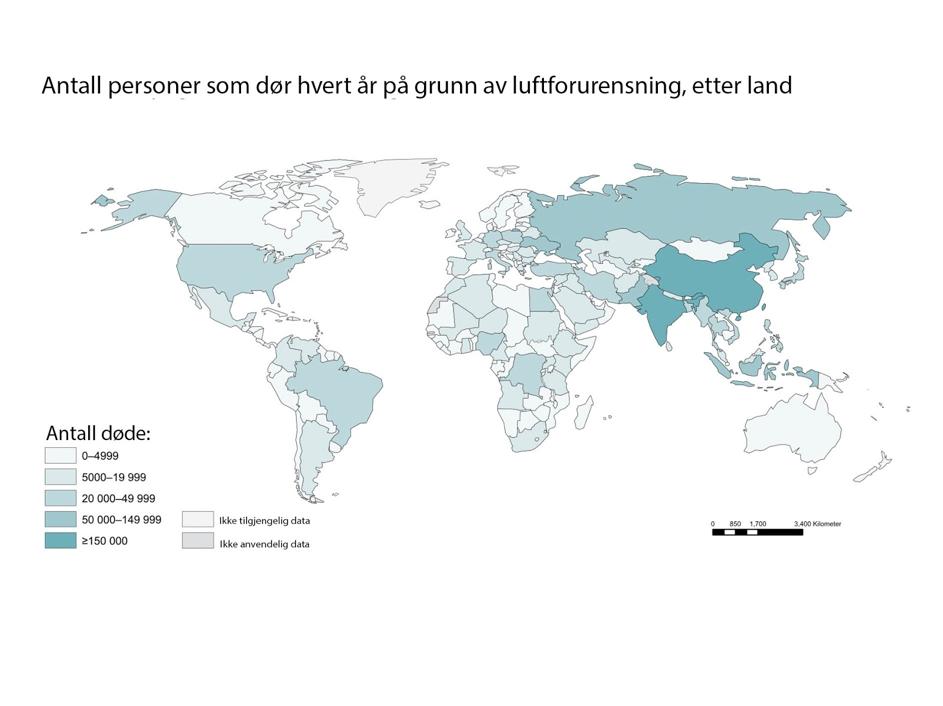 Tall fra World Health Organization. Kina har langt flere dødsfall enn de fleste andre land.