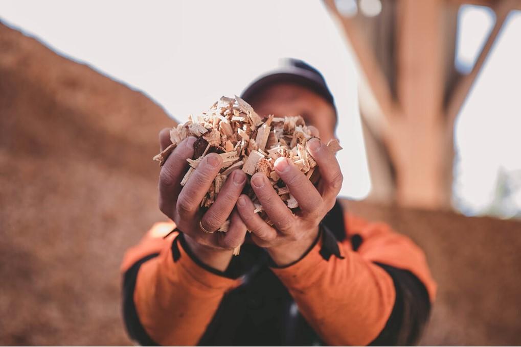 I Meldal leverer blant annet lokale bønder tømmer til Orkla Trebrensel som lager flis til flisfyring. Selv om dette er en viktig del av ressursutnyttelsen er det likevel mye som forblir uutnyttet. Foto: Kajsa Selnes - allsidig design.