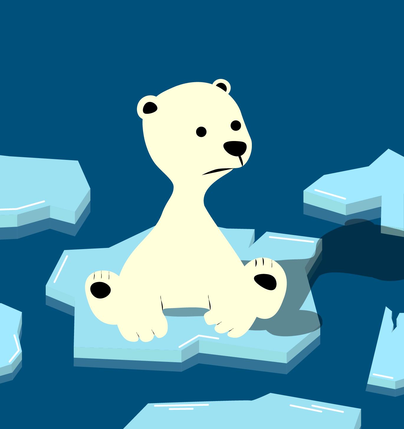 Illustrasjon av trist isbjørn