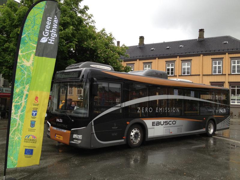 Elbussen på besøk i Trondheim. Foto: Green Highway